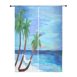 xmarc - Palm Tree Tropical Sheer Curtains, Coastal Palms - The windows have it with these sheer, decorative curtains. Romantic and flowing, these elegant chiffon window treatments finish a room with the perfect statement