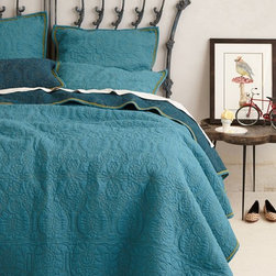 Marseille Coverlet, Dark Turquoise - This gorgeous bedding from Anthropologie would be perfect for adding a glorious pop of color to a dorm room.