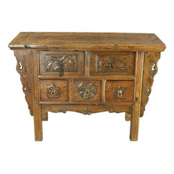 Antique Chinese Hall Table Chest Drawers - A whimsical Antique Chinese Accent Table Hall Table Chest of Drawers Coffer Table dating to 1900 in elm from Pingyao City and featuring hand-carved running horses and bats. Overall Condition is Restored. Shows normal wear to the finish, wood separation at the joints, stains on the top surface, and miscellaneous nicks, dings, and scratches due to age and use. The piece has been clear coat refinished and some of the hardware has been replaced.