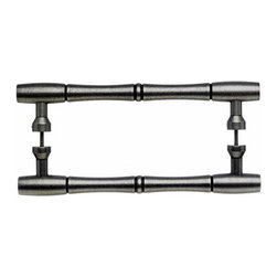 """Top Knobs - Nouveau Bamboo Back to Back Door Pull - Pewter Antique - Length - 9 3/16"""",Width - 7/8"""",Projection - 2 1/8"""",Center to Center - 8"""",Base Diameter - 13/16"""""""