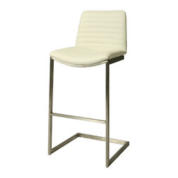 """Pastel - Buxton Barstool BX-210 - Ivory - 30"""" - The contemporary Buxton Barstool has a simple yet elegant design that is perfect for any decor. An ideal way to add a touch of modern flair to any dining or entertaining area in your home. This barstool features a quality metal frame with sturdy legs and foot rest finished in Stainless Steel. The padded seat is upholstered in PU Gray or PU Ivory offering comfort and style. (Available in 26"""" counter or 30"""" bar height)."""