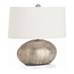 Arteriors Home - Arteriors Home Winslow Metallic Python Pattern Porcelain Lamp - Arteriors Home 1 - Arteriors Home 17530-738 - Winslow egg-shaped porcelain table lamp with snakeskin texture in metallic silver finish and mounted on clear acrylic base. Topped with an oval pewter shade with white cotton lining and matching finial.