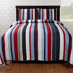 Cottage Home - Cameron Red/ Blue Striped 3-piece Quilt Set - This handmade quilt set is designed to add a classic, comfortable touch to any bedroom decor.  This quilt showcases a stripe design in red, white and blue.