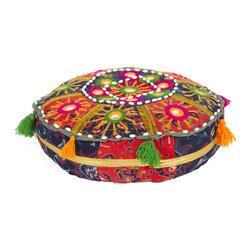 None - Traditional Indian Poufs (Set of 3) - Indian poufs are hand-crafted from exotic beads and stones. Accent pieces make a great accessory to any room. Indian poufs provide great design and are available in multiple color options.