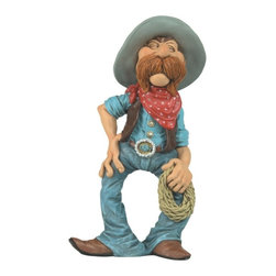GSC - 6.5 Inch Whimsical Cowboy Figurine with Lasso and Handkerchief - This gorgeous 6.5 Inch Whimsical Cowboy Figurine with Lasso and Handkerchief has the finest details and highest quality you will find anywhere! 6.5 Inch Whimsical Cowboy Figurine with Lasso and Handkerchief is truly remarkable.