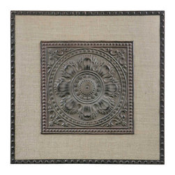 Uttermost - Uttermost 32 Inch Square Filandari Wall Art in Stamped Metal - Lightly Stained Burlap Matting with Stamped Metal Details Finished in Rust Bronze with a Light Tan Wash.