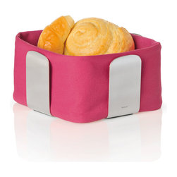 Blomus - Desa Bread Basket - Pink, Large - Gaining an edge on the average breadbasket, this model offers a contemporary cube shape that's easier to pass around your table (and to store) than the traditional style. The design has just enough out-of-the-box panache to be interesting.