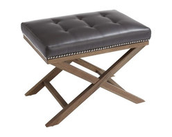 Leather Tufted Bench, Grey - Leather Tufted Bench