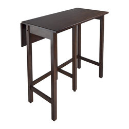 "Winsome Wood - Winsome Wood Lynnwood Drop Leaf High Table - This versatile high table is space saving and functional. A leaf is folded down for space saving and when in use lift up the leaf for an extension of top surface. Top table area when leaf is up 39.37""W x 30""D x 35.43""H. Table when leaf is folded 39.37""W x 20.70""D x 35.43""H. Drop leaf 39.37""W x 10.31""D. Constructed in solid wood in warm Antique Walnut Finish. Ready to Assemble. Pub Table (1)"
