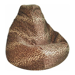 """Elite Products - Fun Factory Leopard Print Extra Large Beanbag - This luxuriously comfortable Extra Large Animal Pattern Beanbag displays an ergonomic pear-shaped profile and comes in either Leopard or Tiger patterns.  The long lasting & durable 130"""" circumference nylon covering features childproof safety lock zipper pulls for added security. * Leopard Print. Long lasting and durable. Pear shape body for add comfort. Double stitched with double overlap folded seam. Double zippered bottom for added security. Childproof safety lock zippers (pulls have been removed). Can easily be refilled by an adult. Highest quality vinyl. Easy to clean. Recommended seating age: 10 + to adult. Made in USA. Warranty: One year limited. Made from nylon and polystyrene bead. Circumference: 130 in.. Weight: 12 lbs."""