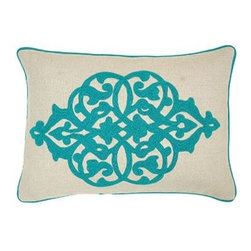 Silver Nest - Aqua Vine Down Pillow- 14x20 - 100% Linen, Woven. Set of two pillow covers with hidden zippers. Feather inserts included. Inserts are 95/5. Priced individually, must be sold as set of 2.
