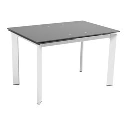 Euro Style - Turi Rectangular Dining Table - Gray tempered glass top, 10mm thick. Chromed steel base. Extends from 47.5 in. to 67 in.. 67 in. L x 32.75 in. W x 29.5 in. H