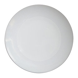 Rosenthal Studio - Tac 02 C-01 Porcelain Dinner Plate - This Rosenthal collection comes in all white with platinum concentric circles around the edge of the plate. The platinum bands increase in thickness as they move away from the center of the plate, like rippling water. This collection will add a touch of minimalism to your table.