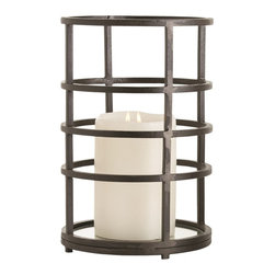 """Arteriors - Moss Large Candle Holder - Horizontal natural iron bands of square bar stock have been forged into rings to create these simple candle holders. The mirrored bottom adds an elegant finishing touch and reflects the candlelight upwards. Designed to hold a 6"""" pillar candle or several smaller candles.Use multiples of the same size candle holder down the center of a table or use both sizes on either side of a mantel. It's simple enough for modern interiors, rustic enough for the casual traditionalist."""