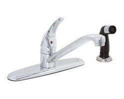 "Premier Faucet - Kitchen Sink Faucet Chrome Single Handle Lead Free 1/2"" with Side Spray - 120003LF Features: -Single-handle kitchen faucet with spray.-Washerless control of hot and cold water.-European style.-Internal parts are interchangeable with Genuine Delta Repair Parts.-Replacement ball 133433, Springs and seats 133720.-Low lead compliant with CA and VT restrictions.-Adjustable 6'' and 8'' centers.-2.2 Gallons per minute.-0.5'' IPS connections and 4'' centers.-ADA compliant.-Complies with the requirements of the Uniform Plumbing Code.-Certified to meet the strict lead-free standards of California and Vermont.-Spout Reach: 9.5''. Construction: -Lead-free brass construction."