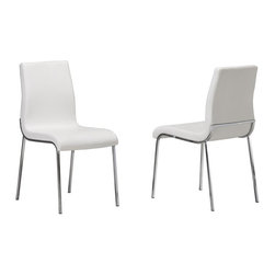 New Spec - Side Chair 4311 in White - Set of 4 - White Polyurethane Material. Foam . Chrome Legs. 16.93 in. W x 23.03 in. D x 33.66 in. H