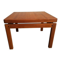 Pre-owned Danish Teak Side Table - Does this side table TEAK your interest? Well, it's no wonder because this piece has a restored floating top and beautiful joint details. A real stunner of a side table - we were tempted to keep this one for ourselves!    Condition Details: while top has been restored, the legs do have some scuffs.