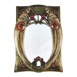 Bronze Finish Flower Girls Table Mirror Roses - This incredibly beautiful Art Nouveau style table mirror is the perfect gift for flower lovers. It features mirror images of women with metallic red roses, holding a candelabra. Made of cold cast resin, it measures 12 inches tall, 8 1/2 inches wide, with a fiberboard backstand. The bronzed finish fits with most decor schemes. It adds a great look to sitting rooms, bathrooms and living rooms.