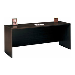 """Bush Business - Credenza in Mocha Cherry - Series C - A full six feet of desktop recommends this 72 Credenza ��� Cameo as reception desk where room for two is needed, or wherever a more spacious workstation is desired.  You can complete this attractive sturdy unit by adding an articulating keyboard shelf, a utility drawer, and a pedestal file.  This elegant and spacious Mocha Cherry 72"""" Credenza has an attractive and durable melamine surface finished in rich Mocha Cherry.  Add optional features such as an optional pedestal file, articulating keyboard shelf and utility drawer to customize it to your preference. * Allows user to face approach side with keyboard access and affords greater computer screen privacy. Desktop & modesty panel grommets for wire access and concealment. Durable melamine surface. tem ships ready for easy assembly. 70.984 in. W x 23.346 in. D x 29.842 in. H"""