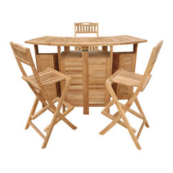 Anderson Teak - Outdoor Folding Home Bar Set with 4 Stools - The cleverly designed Wooden Home Outdoor Folding Bar with Barstools offers the utmost in comfort and convenience.  This full-featured outdoor bar comes complete with 4 folding chairs and features solid Teak wood construction.  When not needed, simply fold for space-saving storage!  Enjoy those white peach martinis, whiskey sours, and chic water selections in your Teak Bar Table Set w/ 4 Foldable Bar Stools, a lovely home addition exemplary of comfortable, yet rich artisan work, idyllic design and an authentic commitment to ceaseless luxury, charm, and limitless appeal.  Bring out for fine weather and stow away when not in use. * Includes bar and 4 Folding Barstools. Just expand the table top by unfold the top.. When not in use, they conveniently fold back into the table.. This bar set are fit for 4-6 people comfortably.. The table comes with plenty of rooms to store bottles and glasses.. The bar stools are designed for comfort as well as strong and save place since its fold.. With solid teak, you don't have to worry about the whether, sunshine or rain.. The Alta Vista Bar set are there for your family and friends.. 62 in L x 26 in. W x 41 in. H