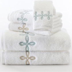 """Matouk """"Gordian Knot"""" - Chances are, there are a handful of towels at anyone's house that need to be demoted to the car wash towel pile. Help spur this along by gifting these luxe fluffy towels with the pretty garden knot design."""