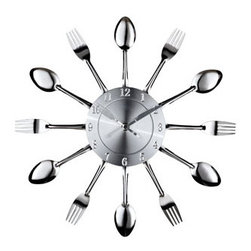 """LexMod - Fork and Spoon Wall Clock in Silver - Fork and Spoon Wall Clock in Silver - Capture the moment in bite-sized portions with this retro modern commentary on consumption. Interspersed silver-toned shimmering forks and spoons feed the senses with periodic servings of light while a sleek clock face apportions the measurements. Bring culinary expressionism to your kitchen in an eccentric exhibition of contemporary decor. Set Includes: One - Fork and Spoon Dining Wall Clock Silver-Tone Finish, Quartz Analog, Uses AA battery (sold separately) Overall Product Dimensions: 2""""L x 15""""W x 15""""H - Mid Century Modern Furniture."""