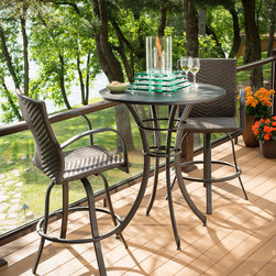 Empire Pub Table - Harmony Table top fire pit with Naples bar stools