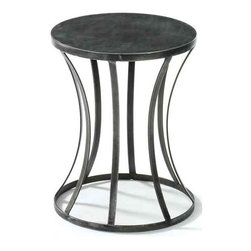 Tin Round Table - Revamp your kitchen or dining area with this well-designed table from French country furniture collection. The round table top sits on the cylindrical shaped bottom made up of sturdy and robust material.