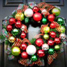 Traditional  Wreath Made Of Ornaments & Ribbon