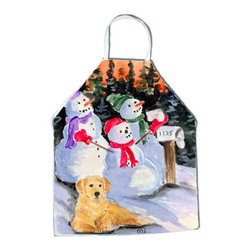 Caroline's Treasures - Snowman with Golden Retriever Apron SS8989APRON - Apron, Bib Style, 27 in H x 31 in W; 100 percent  Ultra Spun Poly, White, braided nylon tie straps, sewn cloth neckband. These bib style aprons are not just for cooking - they are also great for cleaning, gardening, art projects, and other activities, too!