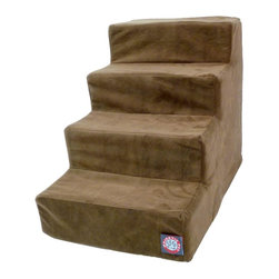 Majestic Pet Products - 4 Step Chocolate Micro-velvet Pet Stairs - Majestic Pet Products 4 Step Chocolate Micro-velvet Pet Stairs are perfect for dogs or cats suffering from joint problems, aging issues, hip dysplasia, arthritis or other disabilities. Majestic Pet Stairs will enable your dog or cat to navigate onto furniture, window sills or beds with ease. These stairs are made with a micro-velvet slipcover that zips off for easy cleaning and a 300/600 Waterproof Denier Base, which make them great for any surface.