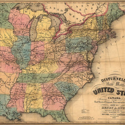 Disturnell's New Map of the United States and Canada Print - Disturnell's new map of the United States and Canada created by Henry Burr for Disturnell, 157 Broadway, New York, NY in 1850.