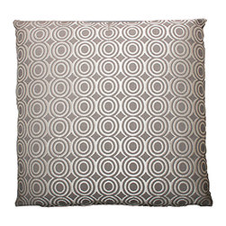 Designer Fluff - Glam Pillow, 20x20 - If you love your sofa, put a ring on it. This pillow features shimmery silver circles on a gray background. It's made of cotton and polyester with a hidden zipper closure, and comes in your choice of sizes, inserts and edges so you can get your bling your way.