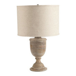 Salerno Urn Table Lamp With Shade, Washed Cream