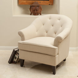 Christopher Knight Home - Christopher Knight Home Silvan Fabric Club Chair - With a unique frame and shape this chair will be an intriguing piece that is as comfortable as it is functional. Tufted back detailing shows attention to detail and the neutral color will match any decor in your home.