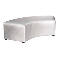 Howard Elliott - Shimmer Mercury Universal Radius Bench - Create sleek, modern seating arrangements for bars, lobbies or restaurants with our Radius Bench. It features a dramatic arced shape. Place 2 or more together for a dramatic seating display. Take your seating arrangement a step further by pairing it up with the coordinating InCurve and round Ottoman!