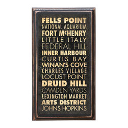"""CrestField - Baltimore, MD Points of Interest Decorative Vintage Style Wall Plaque / Sign - This vintage style wall plaque is hand made to commemorate the points of interest in Baltimore. The pine board has a quarter round routed edge and is sized at 7.25"""" x 13"""" x .75"""". The surface is finished with my """"flatter than satin"""" poly finish with a saw tooth hanger on the back. Would look great in any decoration project, home or office."""