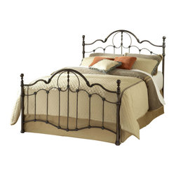Hillsdale Furniture - Hillsdale Venetian Panel Bed - Full - Victorian in deign, the Venetian bed marries elegant curved lines with classic round ball finials and intricate castings to create a classic silhouette. Finished in old bronze and constructed of heavy gauge, fully welded metal, this bed will stand the tests of time in strength and beauty.