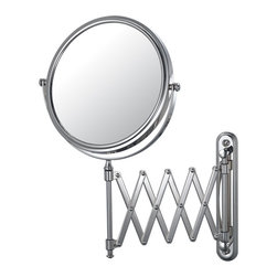 """Extension Arm Wall Mirror - The retro look to the Extension Arm Wall Mirror is the perfect accent to any vintage bathroom or vanity. Its 1x/5x magnification, 7 ¾"""" diameter mirror, and 18 ¾"""" arm extension provides a unique, enjoyable feel for any bathroom. Available in three finishes."""
