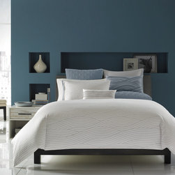 Hotel Collection Bedding, Modern Current - Set sail on a luxurious adventure with the Hotel Collection Modern Current Collection. A landscape of wave patterns in blue hues provide a tranquil, aquatic setting that helps lull you to sleep. Available in Twin, Queen, King. Only at Macy's.