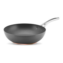 """Anolon Advanced 12"""" Covered Ultimate Pan,http://www.ekitchenworld.com,The Anolon - The bowl-like shape and extra deep capacity of this Anolon Nouvelle 12 inch stir fry pan helps to keep food in the pan during the stir fry cooking process  which involves quick cooking and constant stirring of several ingredients at once. Use this stir fry pan to create quick  healthful meals  with crisp tender vegetables and proteins all in one.This Anolon® Nouvelle Copper Stir Fry pan features durable  hard anodized construction crafted with copper to deliver optimum heat control and perfect cooking performance. The double full cap base features a copper core  enveloped between aluminum  completed with a magnetized stainless steel base. The copper and aluminum provide excellent heat conduction  and the stainless steel base makes this cookware suitable for all cooktops  including induction. Restaurant tested Autograph® 2 nonstick delivers enduring food release and easy cleaning  and is metal utensil safe. Generously appointed cast stainless steel handles are attached to the pans' bodies using innovative flush-rivet technology  making clean up quick and easy.Product Features                        Material - Hard Anodized Aluminum            Oven Safe to 500° F            Suitable stovetop - Gas  solid plate  radiant ring  ceramic  halogen            Nonstick interior surface            Dishwasher Safe - No            Lifetime Limited Warranty"""