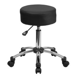 Flash Furniture - Medical Ergonomic Stool with Chrome Base - This backless stool is practical for any fast-paced environment. The small frame design of a backless stool makes it easy to maneuver around tight spaces with ease. This stool can be used in a multitude of environments from the Classroom, Doctor's Offices, Hospitals, Garages and Workshops. The durable upholstery makes it easy to clean when working with liquids that can damage and stain your seat. The adjustable height and comfortably cushioned seat makes this stool a great buy to exceed your expectations.