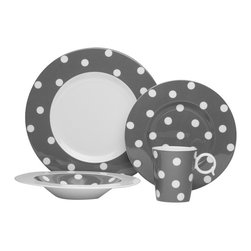 Freshness Dots Gray 4Pc Place Setting - The Freshness collection brings a vibrant burst of color into your home.  Adorned with vertical lines, solid bands and dots in a variety of hues, this four piece place setting is perfect for casual and formal entertaining alike.