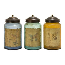 "IMAX CORPORATION - Worldly Butterfly Glass Canisters - Set of 3 - Set of three equal sized, colored glass canisters with a weathered butterfly designed front. Comes in various sizes measuring around 19""L x 12""W x 12""H each. Shop home furnishings, decor, and accessories from Posh Urban Furnishings. Beautiful, stylish furniture and decor that will brighten your home instantly. Shop modern, traditional, vintage, and world designs."