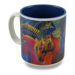 Zeckos - Laurel Burch Colorful Wild Horses of Fire Ceramic Coffee/Tea Mug - You can wake up with Laurel Burch each morning sipping hot coffee or tea from this colorful mug This ceramic mug features the 'Wild Horses of Fire' design from her 'Mythical Horses' collection featured in a multitude of colors with a complementing blue interior. This 3.75 inch tall, 3.5 inch diameter (9x8 cm) mug holds 14 ounces of your favorite beverage, and is microwave and dishwasher safe. It makes the perfect gift for collectors or fans of Laurel Burch art, and is a must-have piece for your own assortment