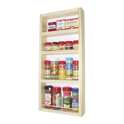 None - Solid Pine Wood 27.75-inch On-the-wall Spice Rack - Capable of being mounted on a wall,side cabinet or door,this functional spice rack works wonders when storing your favorite seasonings. Constructed from solid pine wood,this spice rack comes with a veneer backer.
