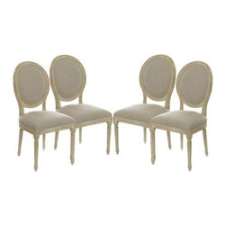 The Gallery - Set of 4 Vintage French Round Upholstered Side Dining Chairs - Originally designed to seat kings, This gorgeous chair is upholstered with natural linen and has a gently curved barrel-back design. The oak legs and soft seat make This comfortable chair the perfect accent piece.
