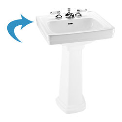 "Toto - Toto lpt532.4n Cotton White Promenade Pedestal Lavatory, Sink Only 4"" Centers - The Toto LT532.4#01 is a Self-Rimming Lavatory, From Toto USA. The Toto LT532.4#01 Measures 24"" x 19"", Faucet Mounts on 4"" Center and comes in Cotton White Finish"