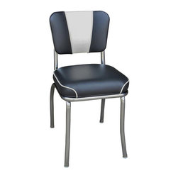 Richardson Seating - Richardson Seating Retro 1950s V-Back Chrome Waterfall Seat Diner Chair in Black - Richardson Seating - Dining Chairs - 4220BLKWF