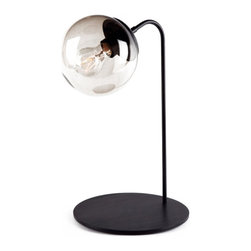IKEA Black Glass Ball Table Lamp -
